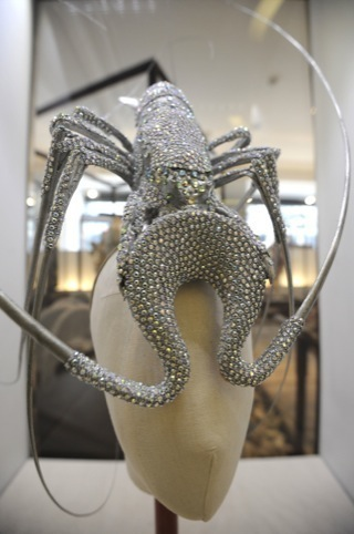 Philip Treacy lobster hat, created for Lady Gaga, as part of designer Judith Clark's Washed Up exhibition