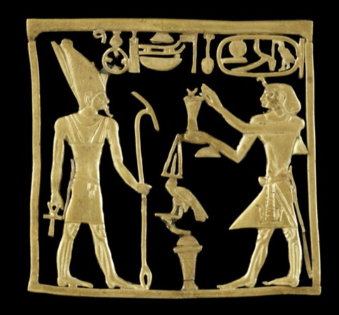 Gold plaque showing the Pharaoh Amenemhat IV offering to the god Atum, 1786 – 1777 BC