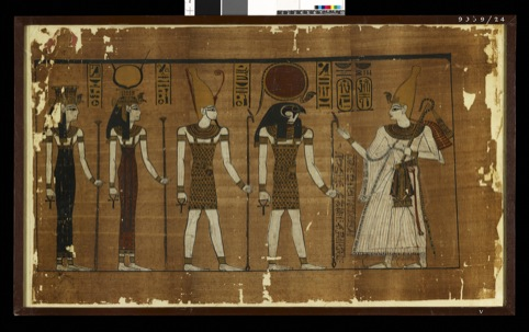 Ramses III offering to the gods of Heliopolis. Papyrus Harris I, 1184-1053 BC.
