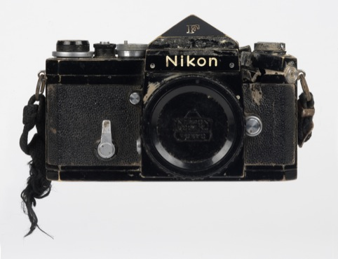Don McCullin's damaged Nikon F Camera, hit by a bullet from an AK-47 in Cambodia.