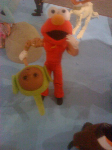 Part Elmo, part Teletubby on a Stick