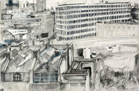 East London Line, pencil and chalk on paper