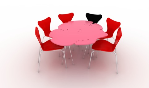 Embrace part 1, pink table Peter Cook and Yael Reisner with Arne Jacobsen  chairs