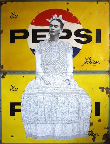 Frida on Yellow Pepsi