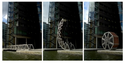 Rolling Bridge, Paddington Basin, London