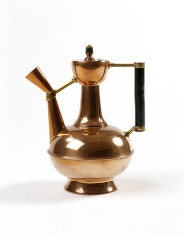 Coffee pot made from copper designed by Christopher Dresser and made by Benham and Froud c1888
