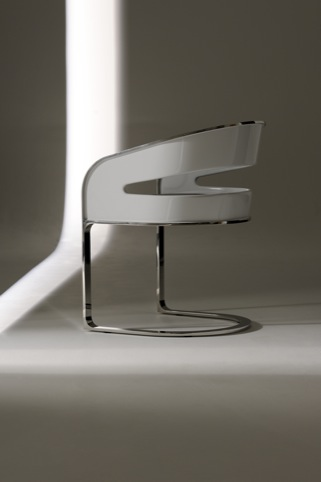 High Gloss White Cantilevered Chair by Glyn Petermacchin