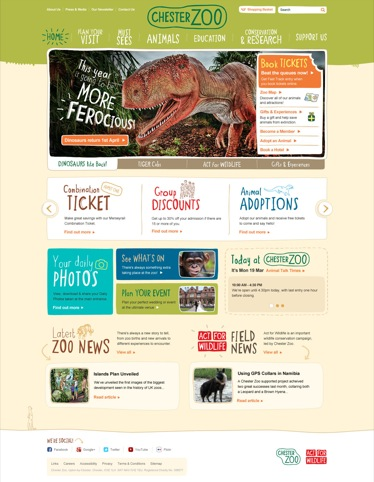 Chester Zoo homepage