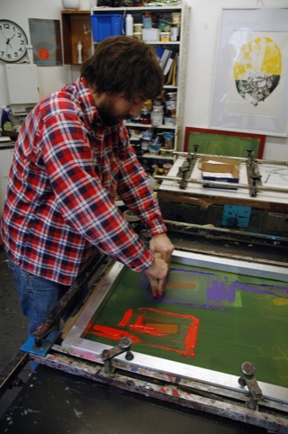 Screen printing the zine