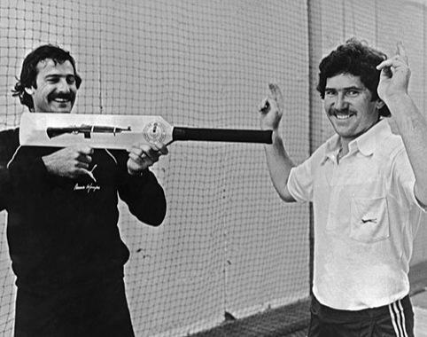 Dennis Lillee threatens teammate Alan Border with his aluminium bat