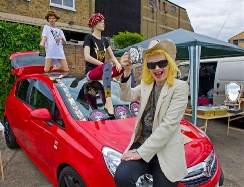 Pam Hogg sits on a Vauxhall