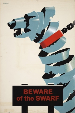 Beware of the Swarf. Handrendered artwork - industrial safety by Leonard Cusden 1951. The Royal Society for the Prevention of Accidents