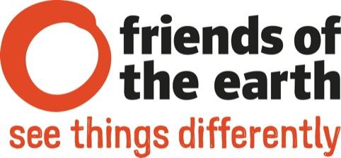 Friends of the Earth identity in red