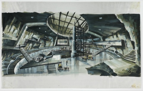Ken Adam's concept for volcano set, You Only Live Twice. 1967 Danjaq LLC and United Artists Corporation