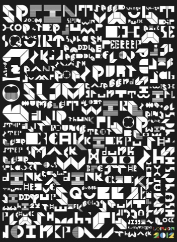Onomatopoeialympics – Michael Worthington using Wonk modular alphabet by David Karwan