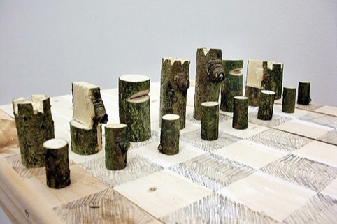 Log Chess Set, by Peter Marigold, 2011. Found wood