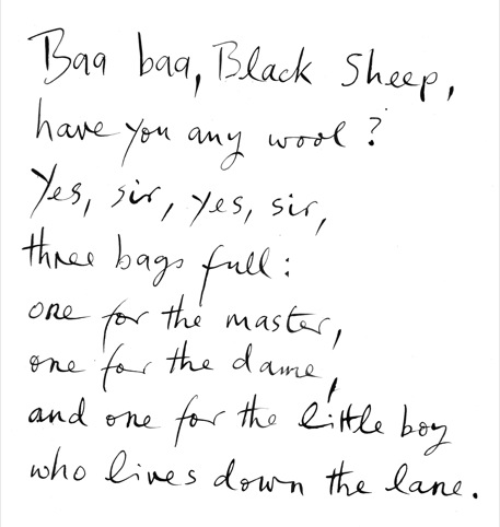 Handwritten text from Baa
