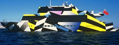 Exterior boat camouflage by Jeff Koons