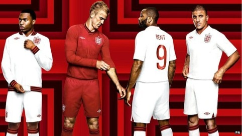 England shirts designed by Umbro with font by Paul Barnes
