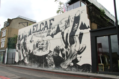 McBess' mural on Village Underground for East London Comics and Art Festival
