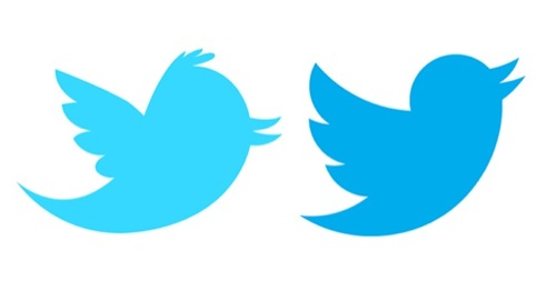The Twitter logo before (left) and after