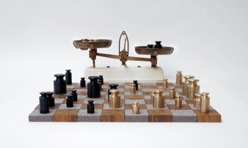 Weighing up the Competiton, by Rolf Sachs. Brass, Black Enamel, Teak, Felt.