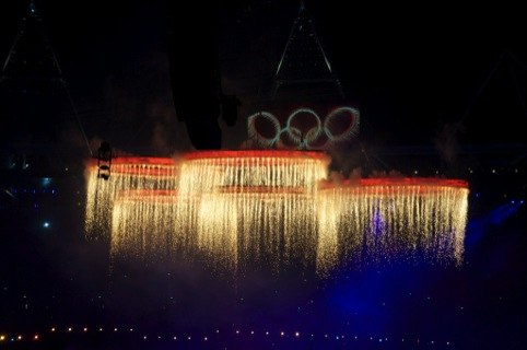 The Olympic rings converge