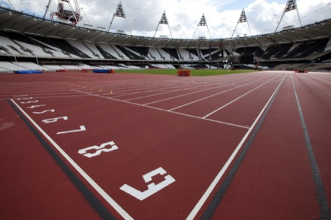 2012 typeface on the Olympic track