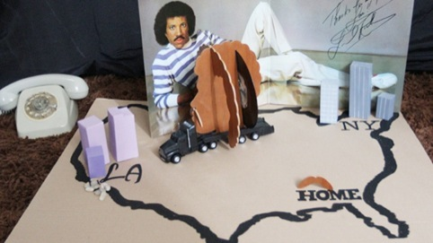 Lionel Richie in a mock up of his hometown of Tuskegee, Alabama.