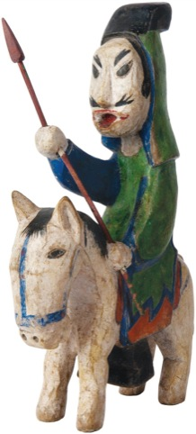 Man Riding a Horse, painted on wood, late 19th/early20th Century