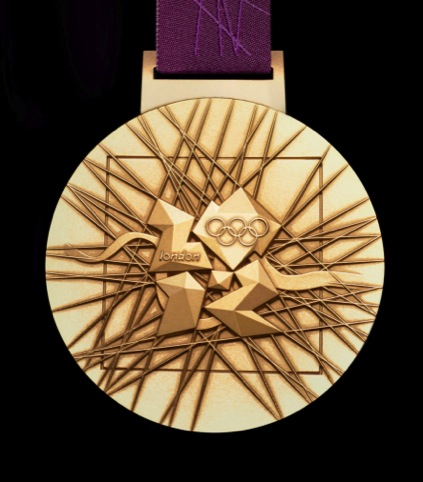Close-up of the Olympics gold medal design