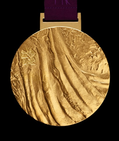 Close-up of the Paralympics gold medal design