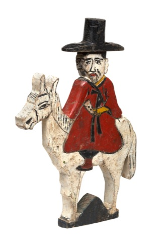Triple-Faced Man Riding a Horse, painted on wood, late 19th/early 20th Century