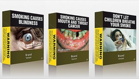 Examples of standardised, plain cigarette packaging. Olive green is thought to be the least attractive colour.
