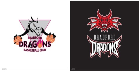 Bradford Dragons logo - before and after