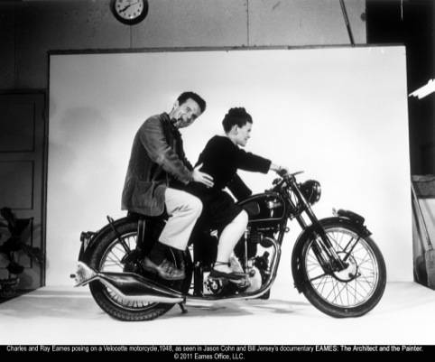 Eames on a motorcycle