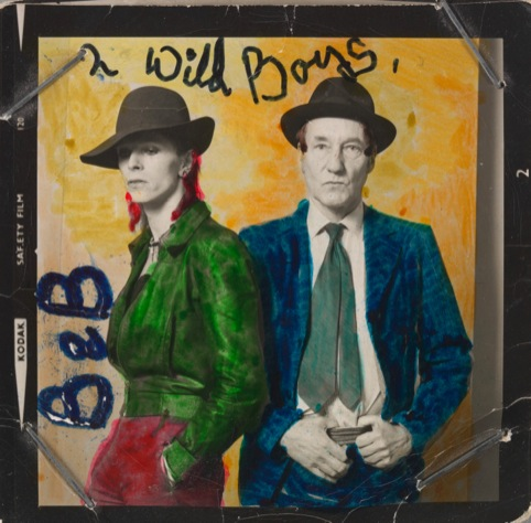 David Bowie and William Burroughs 1974. Photograph by Terry O'Neill. Hand colouring by David Bowie