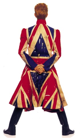 Original photography for the Earthling album cover. Union Jack coat designed by Alexander McQueen in collaboration with David Bowie 1997