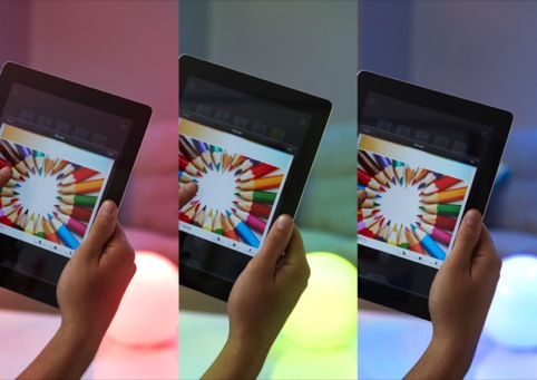 Colours on the tablet interface