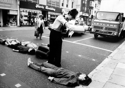 From the Argus Archives, anti-nuclear protestors block the road by lying down. London Road, 1982