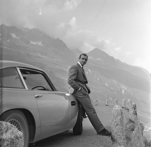 Sean Connery with the Aston Martin DB5 in Goldfinger