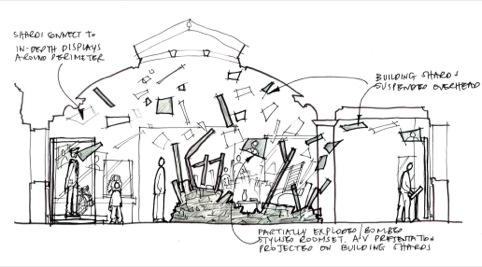 Sketch and model of explosion immersive experience at Birmingham Museum and Art Gallery