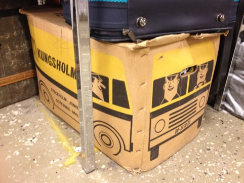 Bus Box from a flea market in Stockholm. The cut out handle makes the perfect drivers mirror.