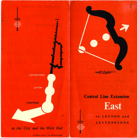 London Transport leaflets from 1947-8, when the Central line was extended eastwards