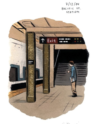 New York Drawings, Pacific St. Station (7/12/04), Adrian Tomine