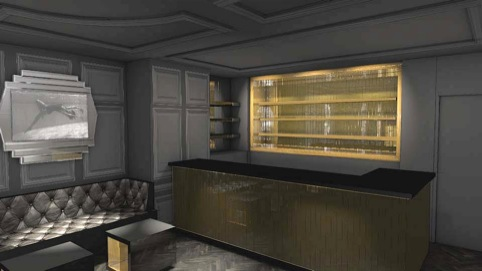 A render of the space showing the gold-lit bar area