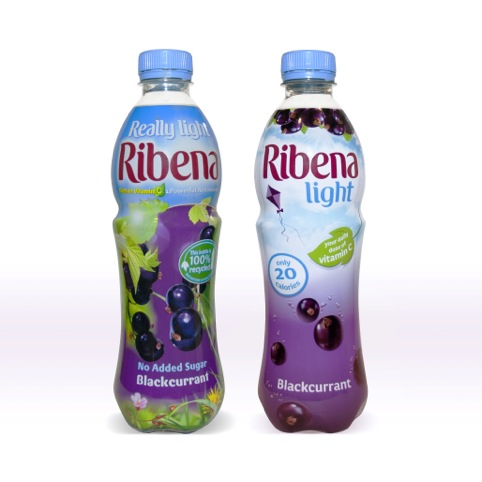 Ribena before left and after right