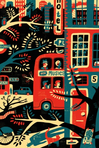 London in Red Black and Blue, by Oivind Hovland