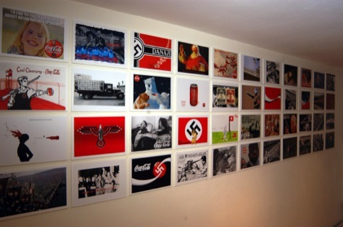 A selection of work from Moberly's Coca-Cola's Nazi Adverts Exhibition
