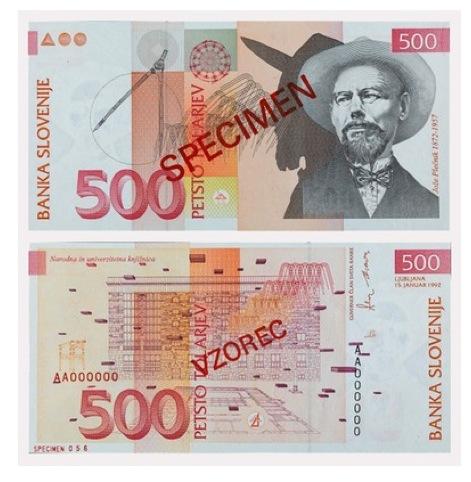Miljenko Licul, Banknote for 500 tolars, Republic of Slovenia, 1992
